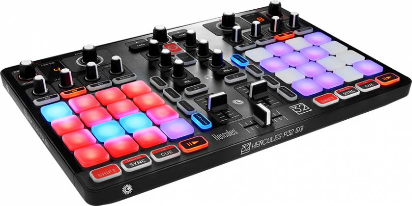 Hercules Audio P32DJ All-In-One DJ Controller with 2 Grids of 16 Effects Pads Product Image 3