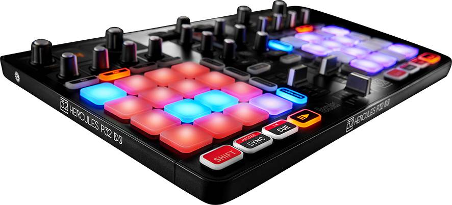 Hercules Audio P32DJ All-In-One DJ Controller with 2 Grids of 16 Effects Pads Product Image 2