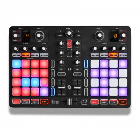 Hercules Audio P32DJ All-In-One DJ Controller with 2 Grids of 16 Effects Pads Product Image