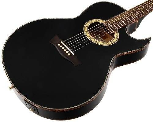 Ibanez EP10-BP Euphoria Series Steve Vai Signature 6 String RH Acoustic Electric Guitar with Case-Black Pearl High Gloss Product Image 7