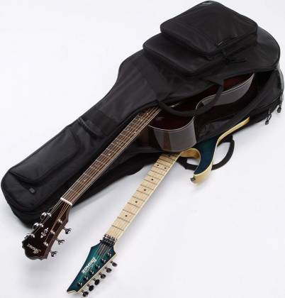 Ibanez IGAB2540BK Black Powerpad Double Gig Bag for Two Guitars-Fits One Acoustic and One Electric Guitar Product Image 5