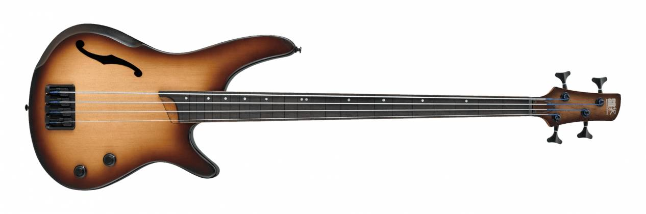 Ibanez SRH500FNNF SR Series Bass Workshop - Fretless Semi-Hollow Body 4 String RH Electric Bass Guitar - Natural Browned Burst Flat Product Image 3