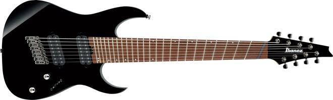 Ibanez RGMS8-BK Iron Label Multi-Scale 8 String Electric Guitar - Black Product Image 5