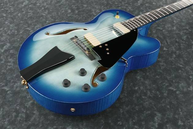 Ibanez AFC155-JBB-d2019  Contemporary Archtop Series 6 String RH Hollowbody Guitar in Jet Blue Burst with case Product Image 3