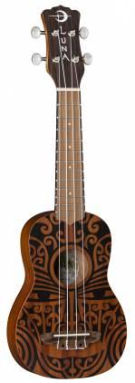 Luna UKE TRIBAL SOPRANO Mahogany 4 String Acoustic Ukulele - Satin Natural Product Image 5