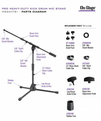 On Stage Stands MS9411TB+ Pro Heavy-Duty Kick Drum Microphone Stand Product Image 3