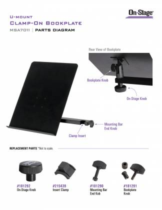 On Stage Stands MSA7011 U-Mount Clamp-On Bookplate Product Image 15