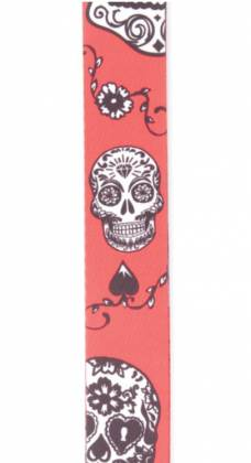 Planet Waves P20W1414 Sugar Skulls Guitar Strap in Red Product Image 3