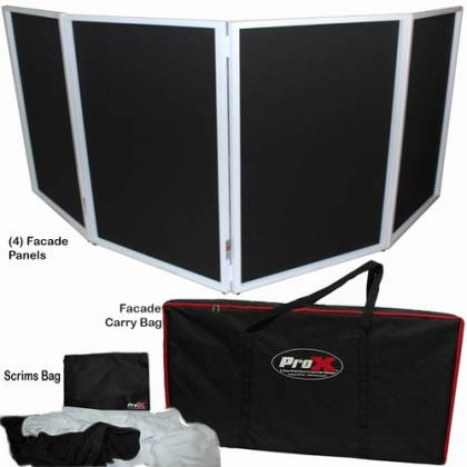ProX XF-4X3048W DJ Facade 4x White Collapse and Go Facade Panels with Carry Bag and Black & White Scrims Product Image 15