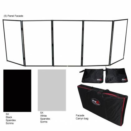ProX XF-5X3048B Black Frame 5 Panel Pro DJ Facade with Stainless Quick Release 180 Degree Hinges Product Image 2
