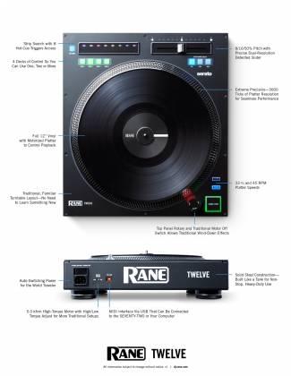 "Rane DJ TWELVE DJ MIDI Controller with 12"" Motorized Platter Product Image 9"