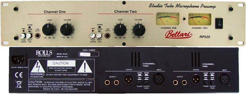 Rolls RP520 Studio Tube Mic Preamp with Analog Meters