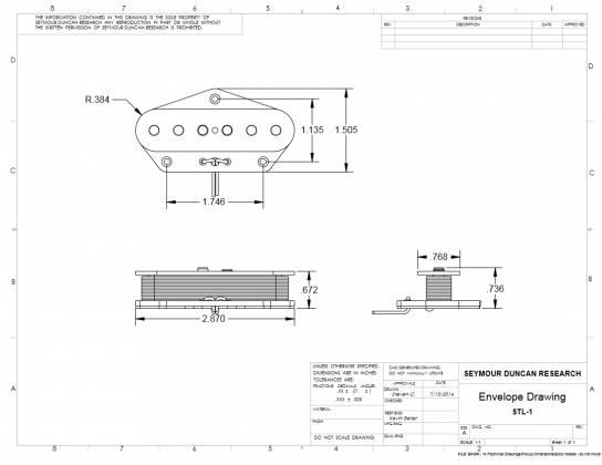 Lead Pickup for Tele model 11024-33 Seymour Duncan Antiquity II  Bridge