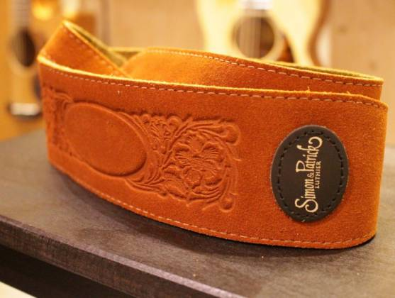 Simon & Patrick 037322 Rust Western Suede w/Patch Logo Guitar Strap Product Image 3