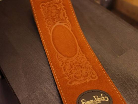 Simon & Patrick 037322 Rust Western Suede w/Patch Logo Guitar Strap Product Image 5
