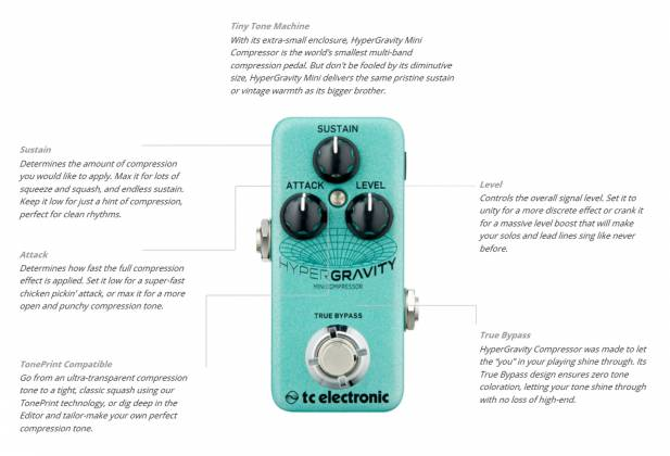 TC Electronic HYPER G COMP MINI HyperGravity Mini Compressor Guitar Effects Pedal hyper-g-comp-mini Product Image 10