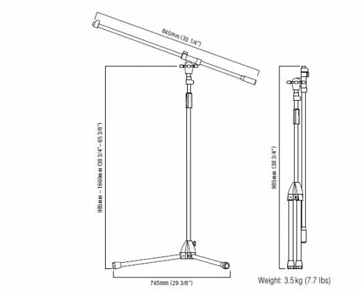 Tama MS455-BK Iron Works Tour Tripod Boom Microphone Stand Product Image 3