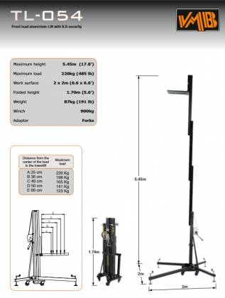 VMB TL-054B Towerlift Series 485 lbs/ 17.8' Max (220 kg/ 5.45m) in Black Product Image 9