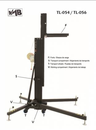 VMB TL-054B Towerlift Series 485 lbs/ 17.8' Max (220 kg/ 5.45m) in Black Product Image 2