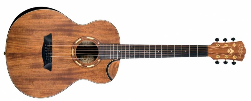 Washburn WCGM55K-D Comfort Series G-Mini 55 Koa 6-string RH Cutaway Acoustic Guitar-Natural satin Finish with Gigbag Product Image 3