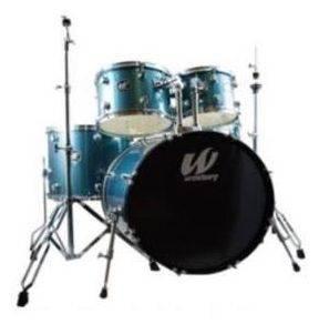 Westbury W565T-AS 5 Piece Studio Drum Kit with Throne in Aqua Sparkle Product Image 2