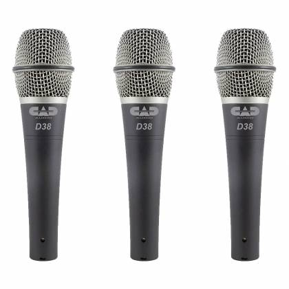 CAD Audio D38X3 Microphone 3 Pack Supercardioid Dynamic Handheld Microphones Product Image