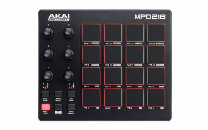 Akai MPD218 MIDI-over-USB Pad Controller with 18 Assignable Potentiometers Accessible Via 3 Banks mpd-218 Product Image 3