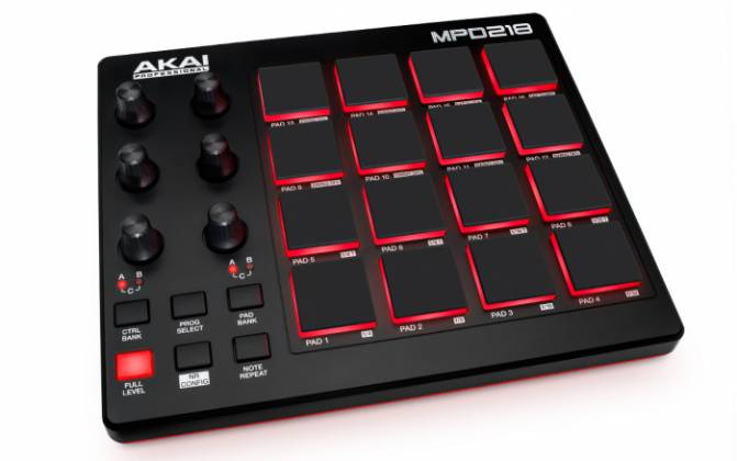 Akai MPD218 MIDI-over-USB Pad Controller with 18 Assignable Potentiometers Accessible Via 3 Banks mpd-218 Product Image