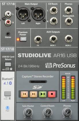 Presonus StudioLive-AR16 18 Channel Hybrid Performance and Recording Mixer with USB and Bluetooth Product Image 5