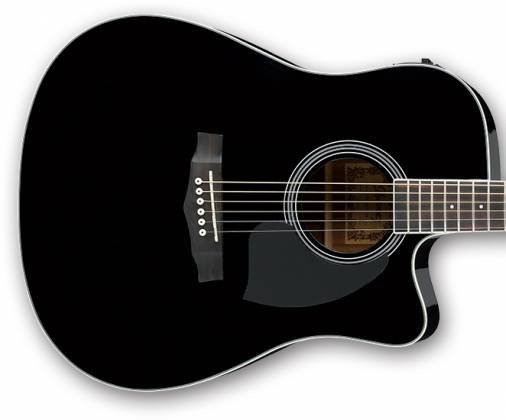 ibanez pf15ece bk d pf series 6 string acoustic electric guitar in black high gloss. Black Bedroom Furniture Sets. Home Design Ideas