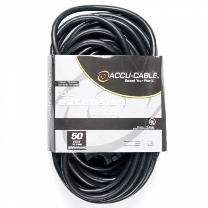 American DJ EC123-3FER50 50' Accu-Cable 3-Wire 12-Gauge Edison AC Extension Cord with Three Plugs Product Image 2