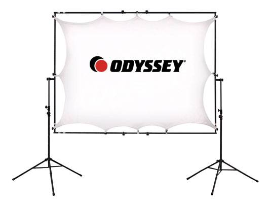 Odyssey LTMVSS1RT Mobile VSS-1RT Raise and Tilt Video Projection Screen System Includes Tripod Frame and Screen Product Image 2