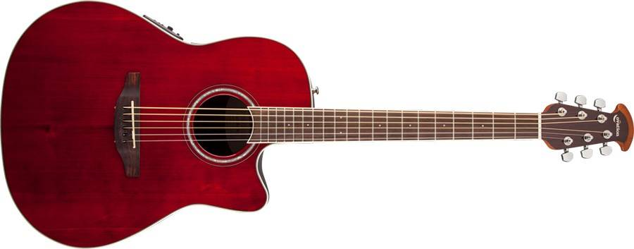 Ovation CS24-RR Celebrity Standard Mid-Depth Cutaway 6 String RH Acoustic Electric Guitar - Ruby Red cs-24-rr Product Image 4