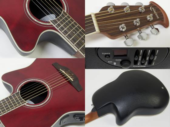 Ovation CS24-RR Celebrity Standard Mid-Depth Cutaway 6 String RH Acoustic Electric Guitar - Ruby Red cs-24-rr Product Image 5