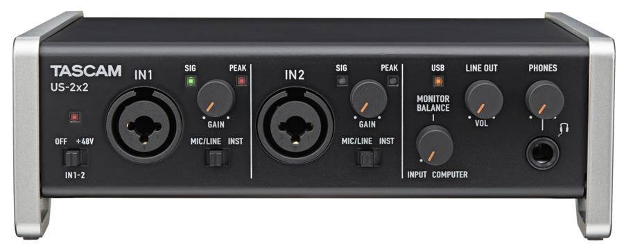 Tascam US2x2CU USB Audio/Midi Recording Interface and Mic Preamp US-2x2-CU Product Image 4