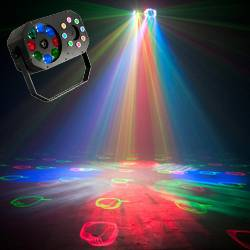 American DJ STINGER-GOBO 3-FX-IN-1 LED Moonflower with Gobos, Color Wash Effects and Red/Green Laser Product Image