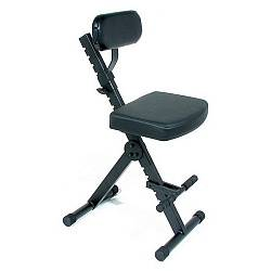 Quiklok DX749 Height Adjustable Musicians Stool with adjustable Footrest and Back Rest Product Image