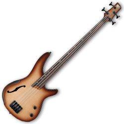 Ibanez SRH500F-NNF-d SR Bass Workshop 4 String RH Semi-hollow Fretless Electric Bass Natural Brown Burst Flat (discontinued clearance)  (Prior Year Model) Product Image