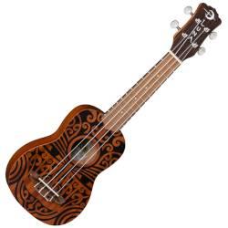Luna UKE TRIBAL SOPRANO Mahogany 4 String Acoustic Ukulele - Satin Natural Product Image