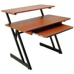 On Stage Stands WS7500RB Rosewood with Black Steel WS7500 Series Wood Workstation Product Image