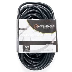 American DJ EC123-3FER50 50' Accu-Cable 3-Wire 12-Gauge Edison AC Extension Cord with Three Plugs Product Image