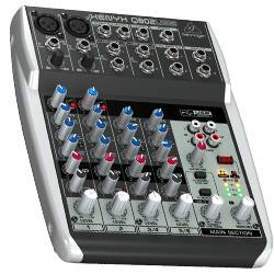 Behringer Q802USB Xenyx Premium 8 Input 2 Bus Mixer with Xenyx Mic Preamps  and Compressors