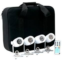 American DJ PINPOINT-GO-PAK (4) 3W White LED Pinspot with remote & carrying case Product Image